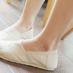 Anklet Jewelry Chic Rhinestone Moon Star Anklet For Women Sterling Silver Anklet, Silver Anklets, Ankle Jewelry, Body Jewelry, Anklet Bracelet, Bracelets, Anklet Designs, Turquoise Jewelry, Silver Jewelry