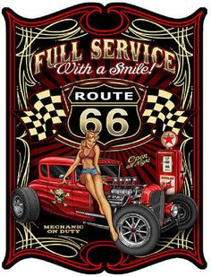 Texaco Route 66 Hot Rod Pinup Girl by Steve McDonald, Art on Metal Sign 18 x 12 custom shape, vintage style garage art wall decor LS345 by HomeDecorGarageArt on Etsy