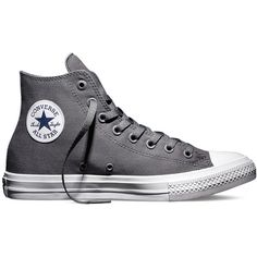 Chuck Taylor II Monochromatic Gray Grey Thunder Storm Silver Canvas... ($130) ❤ liked on Polyvore featuring shoes, sneakers, converse trainers, gray sneakers, canvas sneakers, silver sneakers and grey high top sneakers