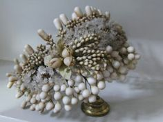 Antique french bridal crown with wax flowers