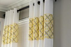 g*rated: Ikea Curtains: Upcycled add fabric to plain curtains Ikea Curtains, Plain Curtains, Yellow Curtains, Bedroom Curtains, Lengthen Curtains, Beautiful Curtains, Curtain Designs, Curtain Ideas, Custom Window Treatments