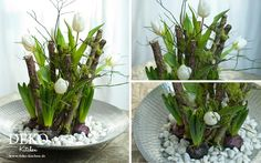 DIY: Fancy floral decoration for spring DIY: unusual flower decoration for the spring decoration kitchen Artificial Plants And Trees, Inside Garden, Unusual Flowers, Cool Curtains, Easter Wreaths, Ikebana, Table Centerpieces, Holidays And Events, Flower Decorations