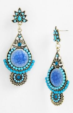 Cara Drop Earrings from Nordstrom. Inspired by the blue ocean waters of Greece. L-o-V-e !!  ♥