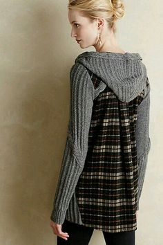Recycled Sweaters, Sewing Clothes, Diy Clothes, Sweater Coats, Sweater  Outfits, Flannel ca7c82ce2b9