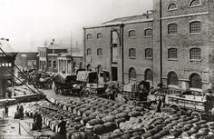 Poster Print-Barrels of molasses, West India Docks, London, Artist: Langfier poster sized print mm) made in the UK Vintage London, Old London, East London, London 1800, Greenwich London, North London, London City, London History, British History