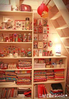 Atelier / craft room storage by laetibricole: Créatrice textile et illustratrice