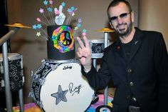 Ringo Starr pictured with his amazing birthday cake on his 72nd birthday, 7/7/2012.