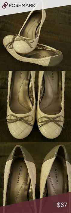 Tahari Lucile Leather Heels Cream and Tan Tahari Lucile Leather Heels. AMAZING CONDITION. Worn once, if at all. Size 6 1/2. Cream color with tan heel. Tahari Shoes Heels