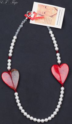 Two hearts are twice as nice. Necklace with Swarovski by Schoolery Twice As Nice, Two Hearts, With All My Heart, Cool Necklaces, Schools, Valentines Day, Pearl Necklace, Swarovski, Jewels