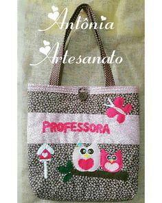 Bolsa em tecido personalizada  professora