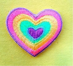 Heart - Love - Neon Rainbow Colors - Embroidered Iron On Applique Patch #Unbranded