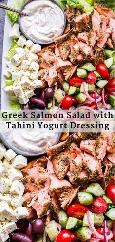 Healthy Recipes Greek Salmon Salad with Tahini Yogurt Dressing is a healthy and hearty main dish salad. All of your favorite Greek salad ingredients with the addition of heart healthy grilled salmon and a flavorful, thick and creamy dressing. Salmon Salad Recipes, Chicken Salad Recipes, Seafood Recipes, Vegetarian Recipes, Grilled Salmon Salad, Eggplant Recipes, Cabbage Recipes, Tuna Salad, Spinach Salad