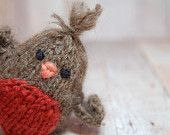 Bird - Robin - Spring - Easter - Toy - Ornament - Waldorf - Natural - Alpaca - Woodland - Brown - Red - Gifts under 20