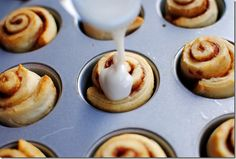 Teensy cinnamon rolls made in a mini cupcake pan.