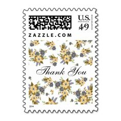 Yellow and Blue Floral Thank You Stamp