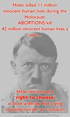 Do NOT compare what Hitler did to abortion! Abortion is a valid medical procedure