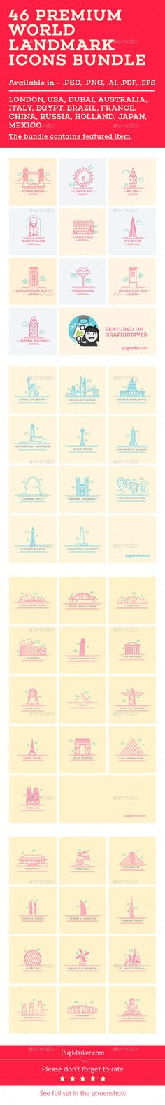 Premium quality World Landmark/Monuments. You can download it from here http://graphicriver.net/item/world-landmark-icons-bundle-vol-1234-/10869022?ref=PugMarker