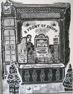 John Griffiths, illustrator, A Front of Shops, Some Decorative Drawings from Motif 3 1959.