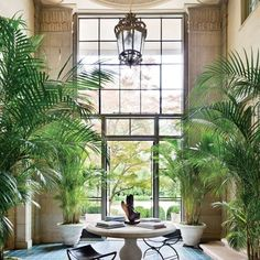 Atrium in Vince & Louise Camuto's Long Island restored estate, Vila Maria. Lantern and floor are original to the home, built in 1919.