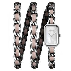 Chanel Premier Rock Pastel Mother of Pearl Dial Ladies Watch ($3,626) ❤ liked on Polyvore featuring jewelry, watches, water resistant watches, chanel jewellery, rectangle watches, quartz movement watches and rectangular watches