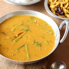 South Indian Lentils Sambar cooked with a single vegetable, the Drumstick.
