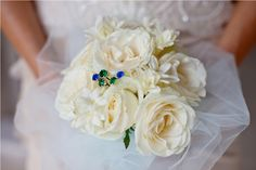 Rose and Tuberose embraced with soft blue tulle by Tirtha Bridal Uluwatu Bali #wedding #bouquet