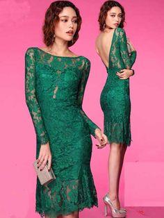 2014 Style Sheath/Column Bateau Lace Cocktail Dresses #GM404