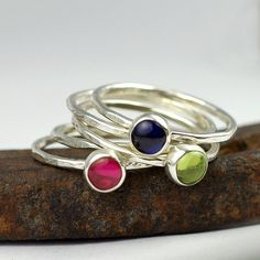 Stacking Birthstone Rings for Mom or Grandma - Gemstone Ring - Mom Jewelry - Custom - Recycled Sterling Silver - Set of Five Rings on Etsy, $174.00