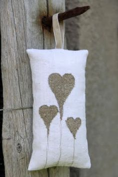 hearts in burlap and linen