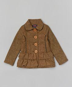 Look at this Tan Tweed Ruffle Jacket - Toddler