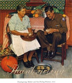 "Norman Rockwell ""Thanksgiving Mother and Son Peeling Potatoes"" (1945)"