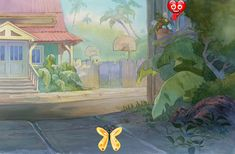 """Lilo and Stitch Concept Art - ID:julylilostitch0066 <br> This is an original Chris Greco preliminary background from the Walt Disney Studios production Lilo and Stitch (2002). This Production Background features 0 and was created at the studio and used during the production of the film. The overall measurements of the piece are 16"""" x 21"""" and the image itself measures 10.5"""" x 16""""."""