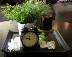 I love clocks - and plants and candles and trays.