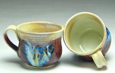 Handmade ceramic teacup porcelain clay red brown blue white runny glaze small coffee mug hand wheel thrown tea cup pottery by Gabriel Kline