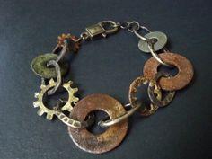 Hardware Jewelry Oxidized Washer Bracelet by simplepleasurestx, $16.00