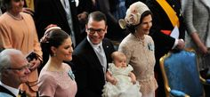 King Carl XVI Gustaf, Crown Princess Victoria, Prince Daniel, Princess Estelle and Queen Silvia at the Christening on 22 May 2012. Swedish Royal Court / Sveriges Kungahus
