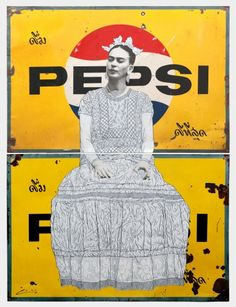 "Pakpoom Silaphan - Frida on Double Pepsi  Mixed media on vintage metal signs   Dimensions: 176.1 x 137.8 cm (69.3 x 54.2"") via Scream London"
