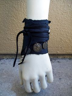 Raven Coin Cuff by ArchaicLeatherworks, Made from recycled scraps of black cowhide, hand cut lace, dark brass hardware, and coins from a thrift store bracelet this simple wrap cuff is adjustable to any size. Raven Costume, Gypsy Costume, Tribal Costume, Diy Costumes, Dance Costumes, Recycled Costumes, Halloween Costumes, Larp, Pirate Garb