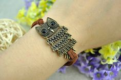 Retro bronze owl cuff leather bracelet,Owl bracelet,Simple brown leather bracelet  LB1147
