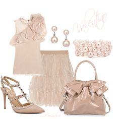 LOVE Valentino...CREAM EVERYTHING...ruffle shoulder top, tired-lace skirt, large patent bag!  now, if I can just find a less-expensive substitute for this look!