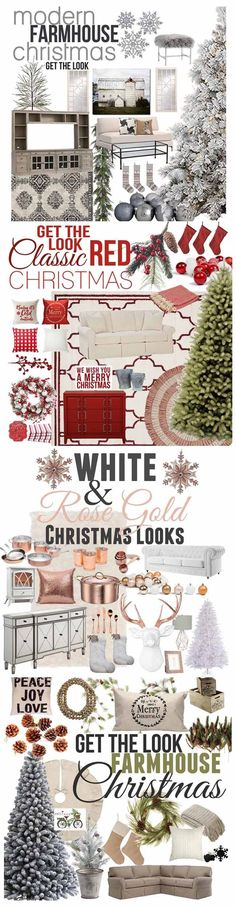 4 Different styles to hlep inspired your holiday decor this year. Shopping guides to help you master the look in your own home! Decorating made simple!! farmhouse style, modern farmhouse, classic red christmas, and rose gold christmas decorating ideas!