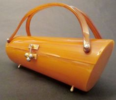 Vintage Mid-Century Designer Lucite Bag Purse Myles of Miami Brown Swirl EUC!!