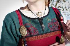 Viking dress Freya viking apron linen dress natural by NothernFox Viking Garb, Viking Dress, Viking Costume, Norse Clothing, Medieval Clothing, Historical Costume, Historical Clothing, Historical Photos, Viking Embroidery