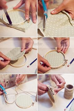 postcards and pretties: {guest post} jenny haasEmbroidery Hoop DIY — You could get very creative with this. And it'd be so easy to switch stuff out! Embroidery Hoop DIY — You could get very creative with this. And it'd be so easy to switch stuff out! Embroidery Hoop Crafts, Silk Ribbon Embroidery, Embroidery Stitches, Embroidery Patterns, Hand Embroidery, Creation Deco, Creation Couture, Baby Crafts, Felt Crafts