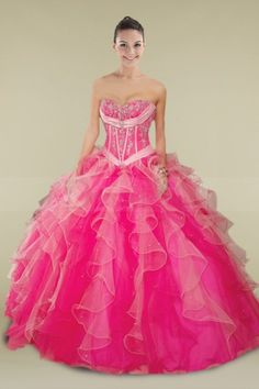 Pink Strapless Ball Gown Dress with Beadings and Romantic Ruffles in Mint-color