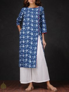 Indigo-White Natural-dyed Dabu-printed Cotton Kurta by Jaypore Indian Designer Outfits, Indian Outfits, Designer Dresses, Kurta Designs Women, Blouse Designs, Blouse Styles, Ikkat Dresses, Suits For Women, Clothes For Women