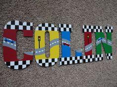 Handbemalter Holz BuchstabenCars und NASCAR groß von WallApproved, $14.00