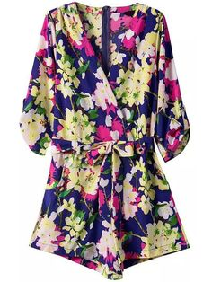 V Neck Florals With Belt Romper , High Quality Guarantee with Low Price!