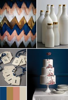 navy blue + gold + pale rose pink + off white wedding board