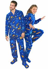 Retro Space Fleece Adult Footed Pajamas with Drop Seat Adult Pajamas 98149703f